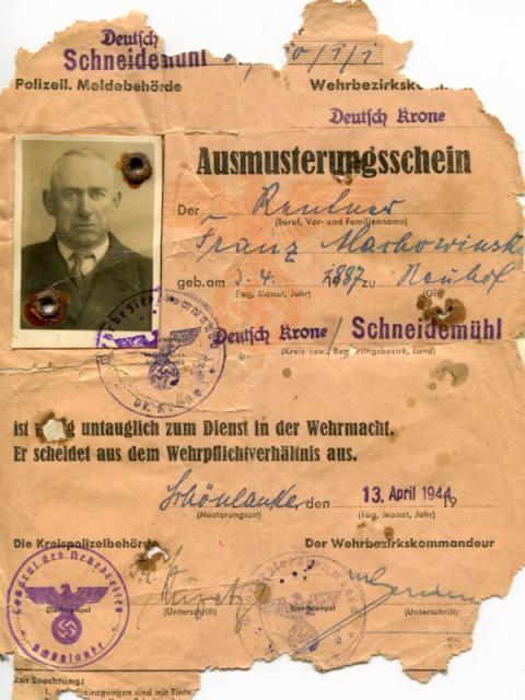 Dokument orzekający o nieprzydatności mojego dziadka dla Wermachtu.